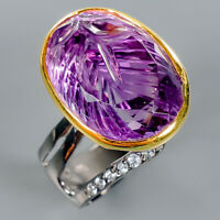 Fine Art18ct+ Natural Amethyst 925 Sterling Silver Ring Size 8/R112140