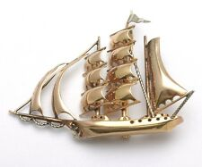 Vintage Sail Boat Pin 14k light rose white gold Ship Brooch Large Estate