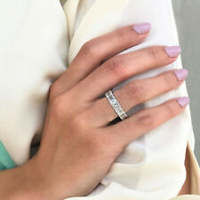 Women Delicate Brass Micro-inlaid Zircon Engagement Wedding Ring Jewelry JD
