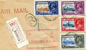 1935 Silver Jubilee Trinidad & Tobago set on  Reg.  Air Mail Cover to England