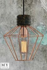 Hugo - Vintage Retro Industrial Copper Cage Pendant Light Edison Bulb included