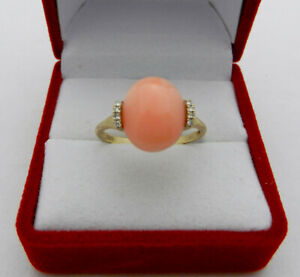 EFFY Pink Angel Skin Cabochon Coral and Diamond Ring in 14K Yellow Gold