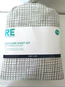 Room Essentials Twin XL Dorm Size Cotton Blend Sheet Set, Gray Whtie Plaid - NIP