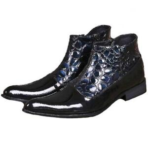 British Patent Leather Men's Dress Zip Pointy Toe Ankle Knight Ankle Boots Shoes