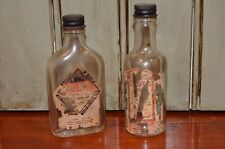 Lot of 2 Empty Vintage Joke Gag Liquor bottles w/ lids Owens Illinois Glass Co