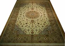 10x14 Ivory Traditional Handmade High End Wool & Silk Oriental Rug