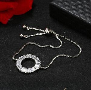 Sparking Fire Round White Topaz Gemstone Silver Slide Bracelets Adjustable Size