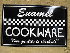 Vintage look Black & White Enamel Cookware Tin Metal Kitchen Sign