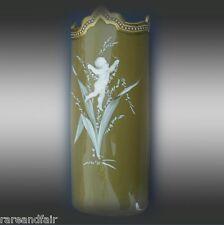 Opaline art glass vase with enamelled cherub design FREE SHIPPING