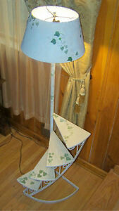 French Provincial Floor Lamp Staircase Plant Stand Wrought Iron Wood Hand Paint