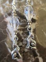 Tibetan Silver Quality Cut Crystal Howling Wolf Artisan Handcrafted Earrings