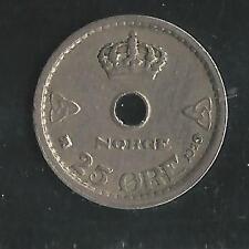 NORWAY,  1929, ( Key Date ) 25 ORE,  COPPER NICKEL,  VERY FINE,  KM#384.