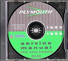 1955-1956 Plymouth Repair Shop Manual on CD ROM 55 56 Plaza Savoy Fury Belvedere