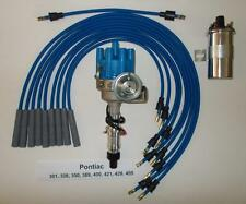 Pontiac 350 389 400 455 Blue Small Electronic Distributor Chrome Coil Wires