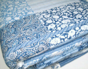 Laura Ashley Paisley Floral Patchwork Ticking Stripe Full Queen Quilt 2 Shams