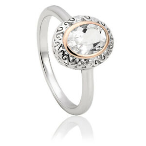 Clogau Looking Glass Stirling Silver / Welsh Gold Ring Size N RRP £129