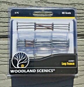 WOODLAND SCENICS 1/87 HO SCALE WOODEN LOG FENCE 192 SCALE FEET 8 PIECES 2981 F/S