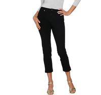 Isaac Mizrahi Live 24/7 Denim Fly Front Ankle Jeans Color Black Size Regular 10