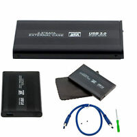 "BLACK HARD DISK DRIVE ENCLOSURE USB 3.0 2.5"" INCH EXTERNAL SATA HDD CASE CADDY"