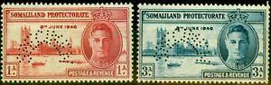 Somaliland 1946 Victory Perf Specimen Set of 2 SG117s-118s Fine MNH