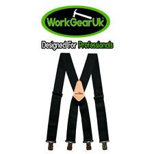 "Heavy Duty Work Trouser Braces 2"" Elasticated Black WG-HDB04"