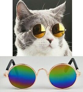 Cute Fashion Pet Sunglasses Cat Small Dog Glasses Eye Ware Metal Gold Colorful