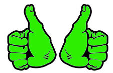 THUMBS UP DECAL STICKER  green 100MM High  CONTOUR CUT LEFT & RIGHT