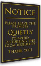 Please Leave The Premises Quietly Sign 260x170mm - Pub/Bar/Restaurant