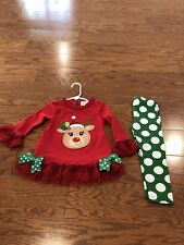 Toddler Girl Christmas Dress 2T Red And Green Holiday Reindeer Appliqué Red Trim