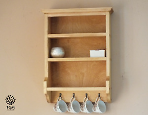 s115 Beautiful Timber Shelf | Wall Mounted Shelving Unit With Hangers |