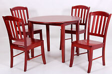 Dining Table Set Round Drop Leaf Four Chairs Mahogany Finish