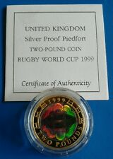 1999 £2 RUGBY WORLD CUP HOLOGRAM SILVER PROOF PIEDFORT COIN