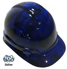 New listing Hydro Dipped Hard Hat High Gloss Blue Lace Girls 6 Point Ratchet Suspension