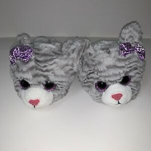 Kitty Cat With Bows Glitter Eyes Toddler Girls Slippers Gray Size Small (11-12)