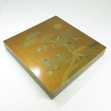 D652: High-class Japanese old lacquer ware ink stone case with wonderful MAKIE