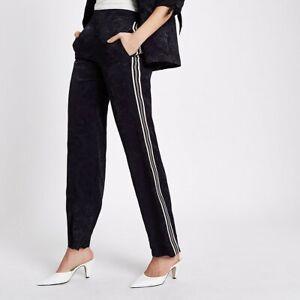 NWT River Island Women's Navy Baroque jacquard stripe side pants Trousers RRP£42