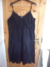 EVIE black COTTON STRAPPY LINED DRESS  18  EMBROIDERY TRIM