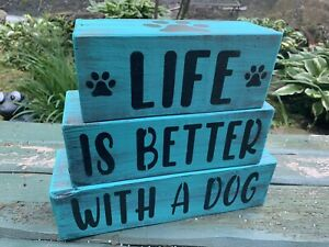 Life is Better with a dog farmhouse rustic sign home decor wood pets
