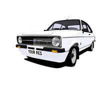 FORD ESCORT MEXICO MK2 CAR ART PRINT (A4 SIZE). CHOOSE CAR COLOUR, ADD REG PLATE
