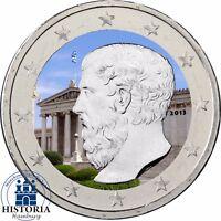 Griechenland 2 Euro Münze Platon Akademie in Athen 2013 Sondermünze in Farbe