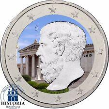 Grecia 2 euro moneta Platone Accademia ad Atene 2013 moneta speciale in colore