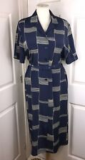 """Navy Long Ladies Dress Size 14 42"""" Waist Button Front Belted CD TV Mumsy"""