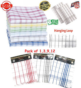 Tea Towels Wonderdry 100% Cotton Kitchen Cloths Cleaning Drying Pack of 3 6 9 12