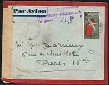 Madagascar 1945 Ganzsache Brief Luftpost Tananarive Nachporto Zensur Paris / 10