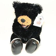 "Stuffed Animal House 10"" Black Bear Hiking Boots Wildlife Smiling Plush Toy NWT"