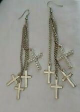 Dangle Cross earrings silver tone costume jewelry 4 tier stones solid pierced