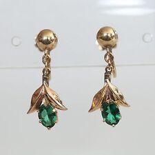 VINTAGE SOLID 10K GOLD & GREEN SPINEL SCREW-BACK DANGLE EARRINGS, 4.2 gms