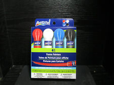 Artskills Washable Poster Paint 4 colored tubes of paint - Red White Blue Black