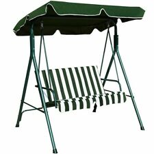 Loveseat Cushioned Patio Steel Frame Swing Glider -Green - Color: Green