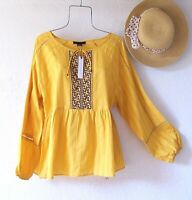 New~$89~Sunshine Yellow Peasant Blouse Embroidered Spring Boho Top~Size Medium M